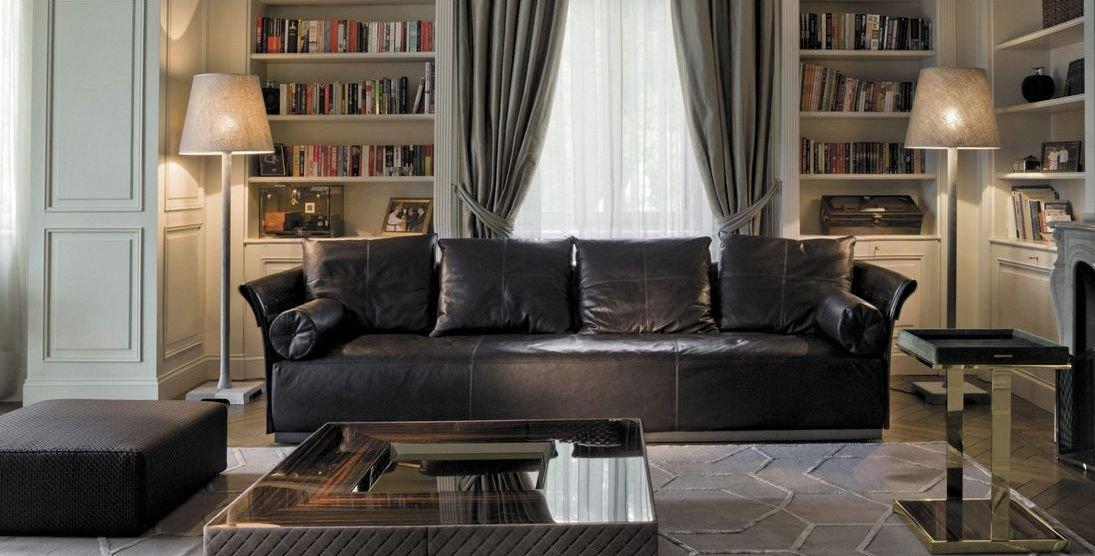 Sofá 4 plazas tapizado en piel moderno